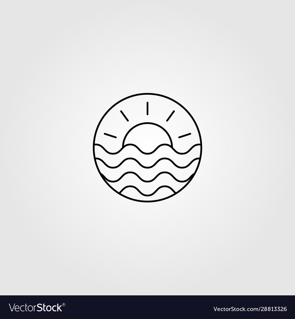 Line Art Wave Ocean And Sun Logo Minimalist Vector Image
