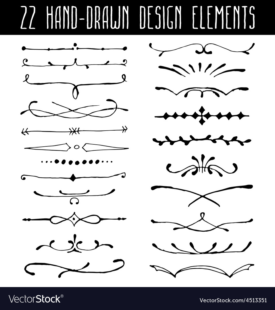 Set Of Hand Drawn Line Border Dividers And Design Vector Image