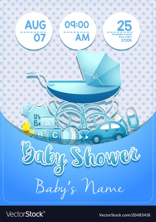Baby Shower Boy Invitation Template With Toys