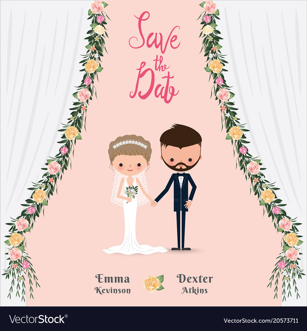 Find & download free graphic resources for cartoon couple wedding card template. Cartoon Wedding Couple Save The Date Invitation Vector Image