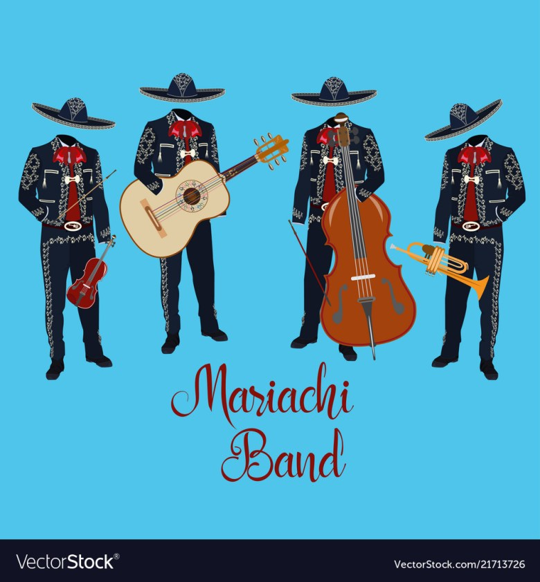 mariachi musicians with musical instruments vector image