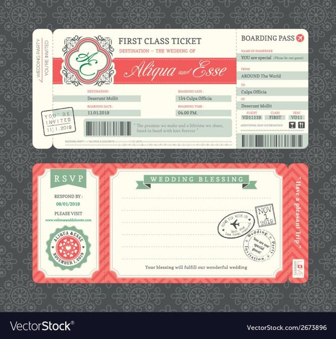 Vintage Boarding Pass Ticket Wedding Invitation