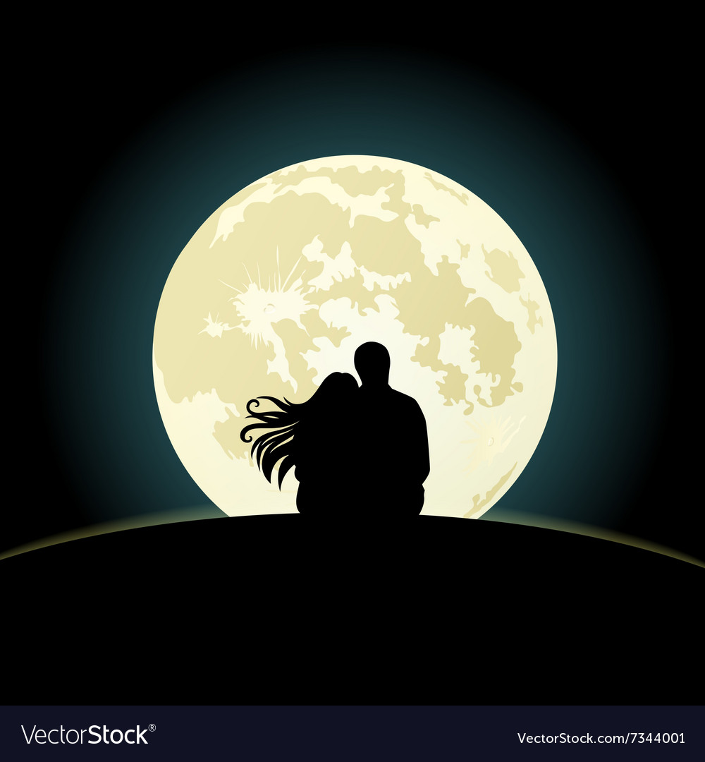Download Couple on a hill sitting under the moonlight Vector Image
