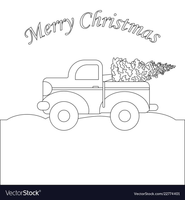 Red truck with christmas tree coloring page Vector Image
