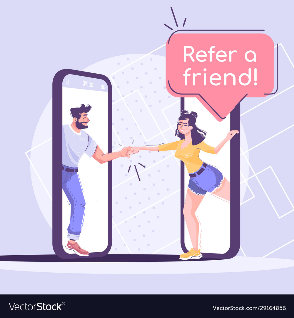 Developing a social media strategy for your business can do several things for your company. Referral Program Social Media Post Mockup Vector Image
