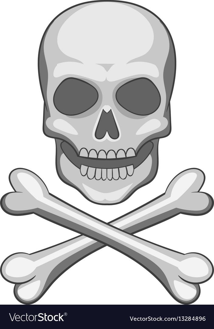 Skull And Crossbones Icon Cartoon Style Royalty Free Vector