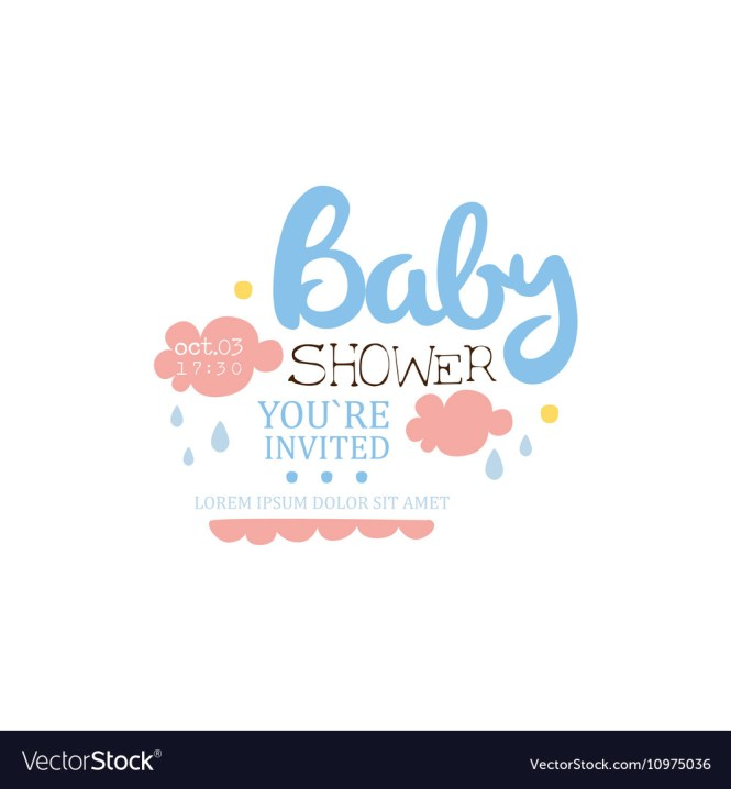 Baby Shower Invitation Design Template With Clouds