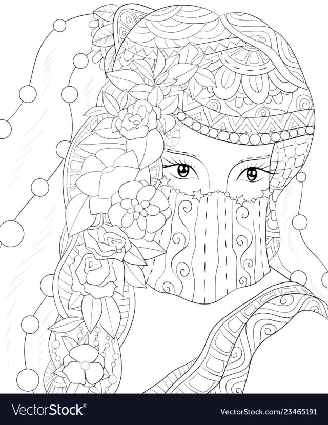 Adult coloring bookpage an elegant girl image Vector Image