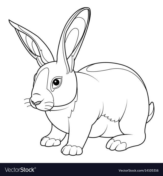 Rabbit coloring page Royalty Free Vector Image