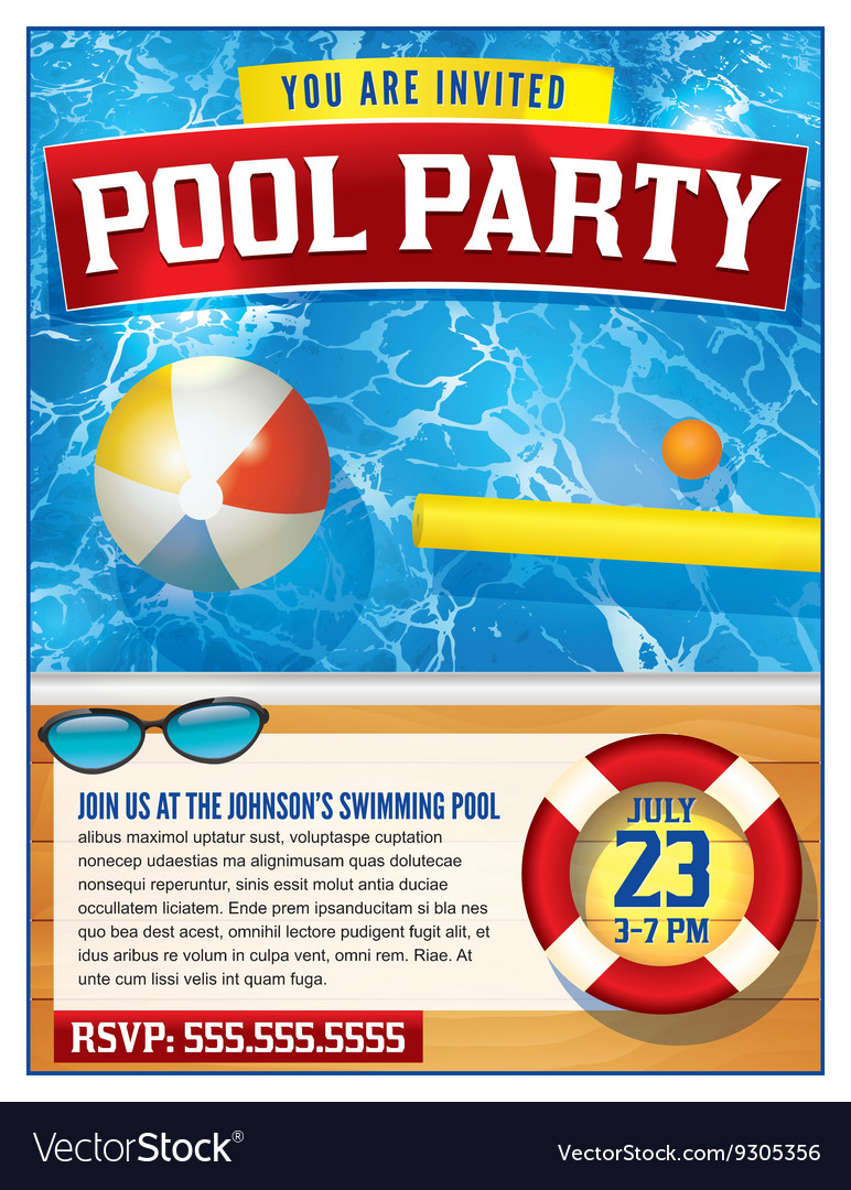 Download hgtv.com's free printables to make your easter gathering more memorable. Pool Party Invitation Template Royalty Free Vector Image