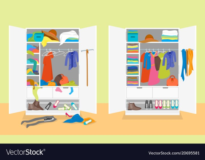 Cartoon Untidy And After Tidy Wardrobe Card Poster Vector Image
