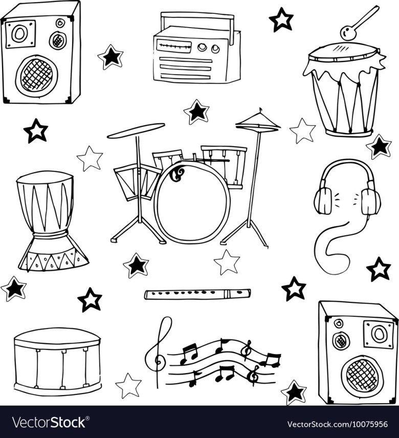 doodle of musical instrument hand draw royalty free vector