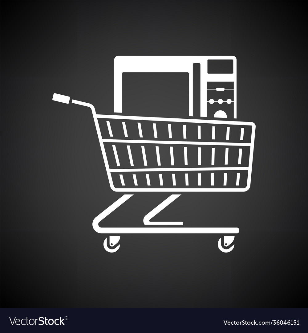 shopping cart with microwave oven icon royalty free vector