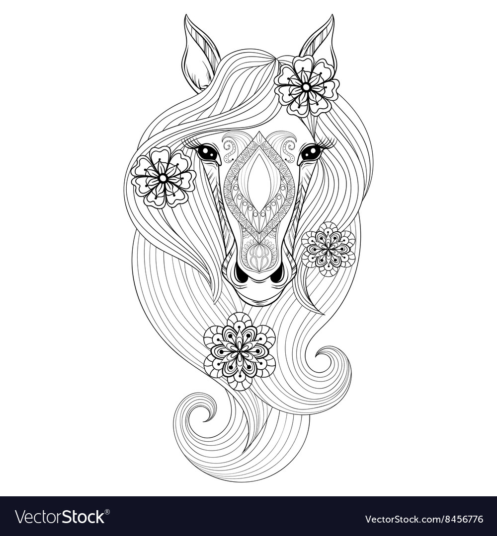 Horse Coloring Page With Horse Face Hand Vector Image