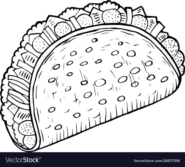 Mexican food taco - coloring page for adults ink Vector Image