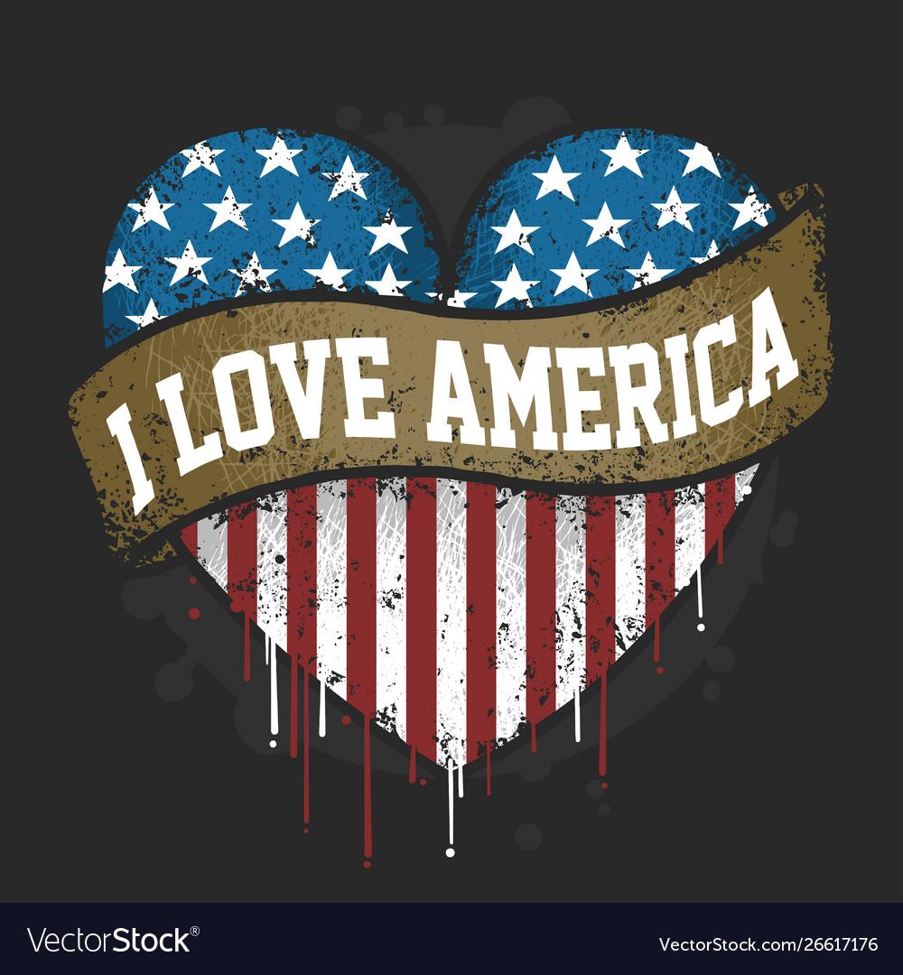 Download I love you america usa flag artwork Royalty Free Vector