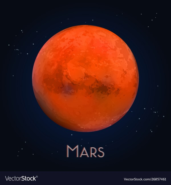 3d mars or realistic red planet astronomy Vector Image