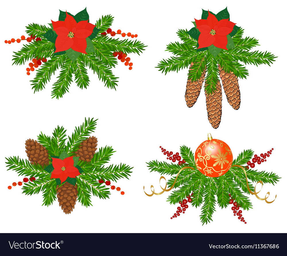 Set Of Christmas Tree Decorations Royalty Free Vector Image