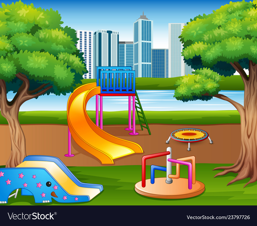 Cartoon Urban Park Kids Playground In The Nature B
