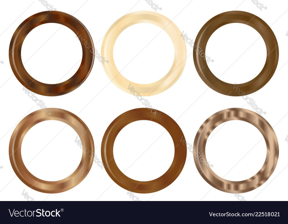 six wooden curtain rings royalty free vector image