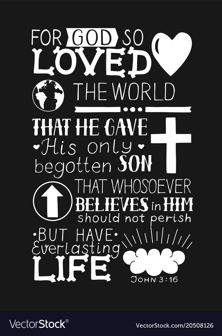 Download Golden bible verse john 3 16 for god so loved the Vector Image