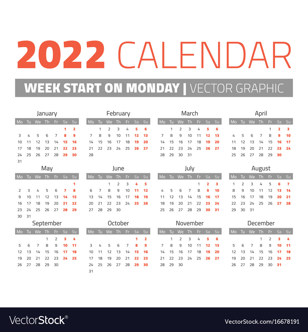 Yearly calendar 2022 (simple, tabular) Simple 2022 year calendar Royalty Free Vector Image