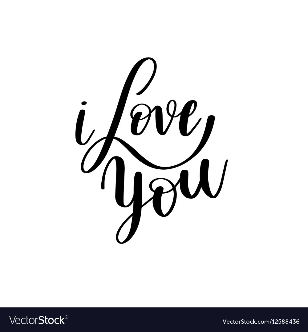 Download I love you black and white hand written lettering Vector Image