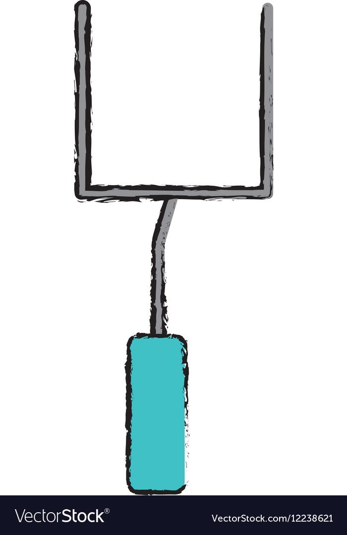 Drawing American Football Goal Post Royalty Free Vector