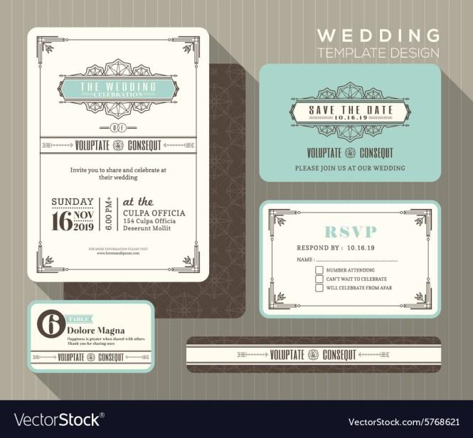 Vintage Art Deco Wedding Invitation Set