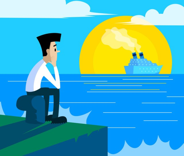 Lonely Man Sitting On The Pier Royalty Free Vector Image