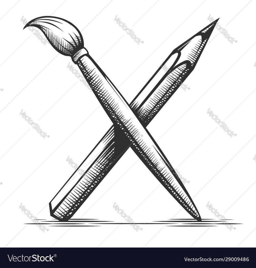 Brush And Pencil Artist Tools Royalty Free Vector Image