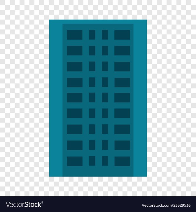 City Apartment Building Icon Flat Style