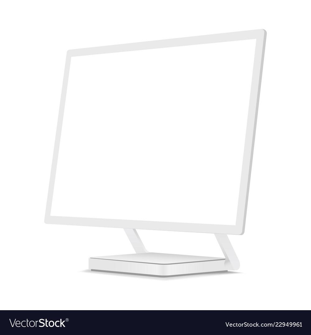 White Computer Monitor Mockup Royalty Free Vector Image
