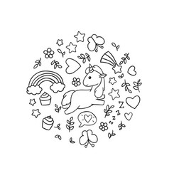 Kawaii Unicorns Coloring Pages Vector Images Over 120