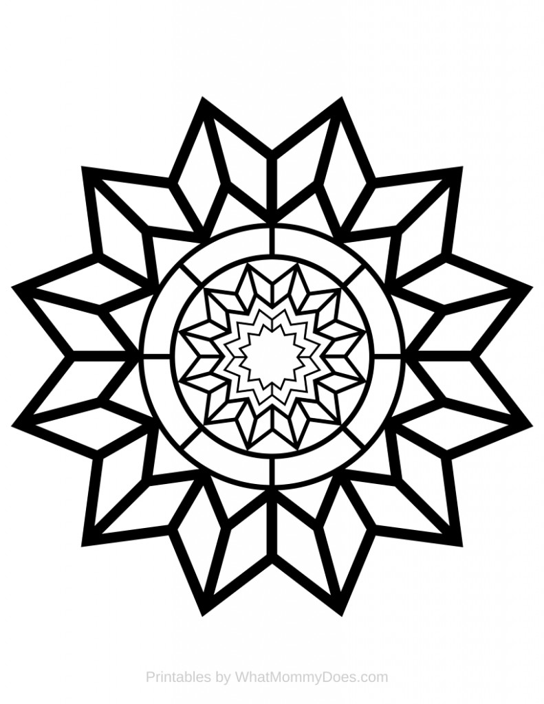 Free Printable Adult Coloring Page Detailed Star Pattern What
