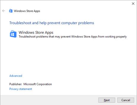 0x8E5E0407 - Windows 10 - Панель управления - Устранение неполадок - Vew all - Приложения магазина Windows - 2 - Windows Wally