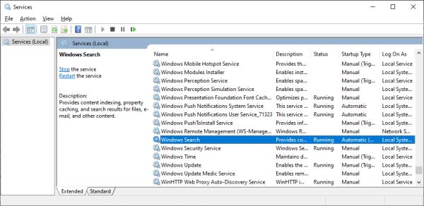 Использование диска 100 - services.msc - Windows Search - Windows Wally