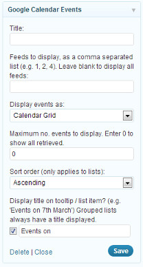 Google Calendar Widget settings