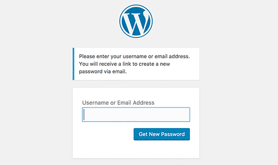 Экран восстановления пароля WordPress