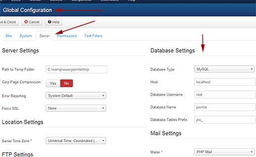 Getting your database settings from Joomla Administration area