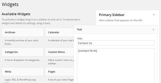 Menggunakan Shortcode di widget WordPress