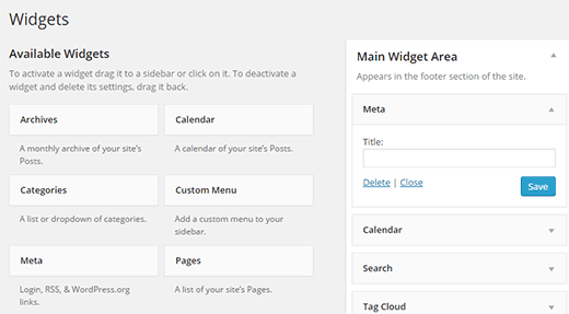 Adding meta widget in WordPress