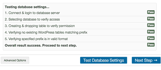 Test database settings