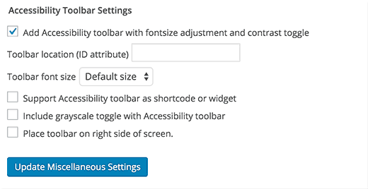 Adding an accessibility toolbar in WordPress