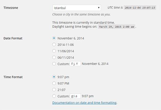 Cài đặt ngày và giờ trong WordPress
