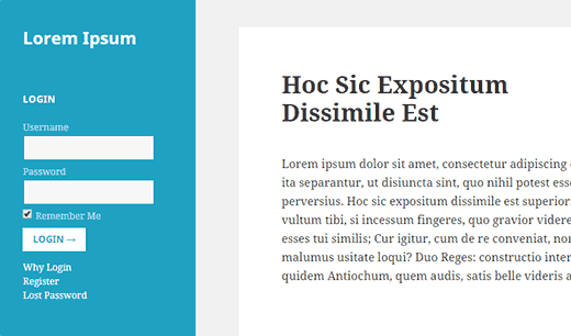 Preview of a WordPress site with a login form in the sidebar