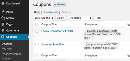 Coupon shortcodes to use in your WordPress posts and pages