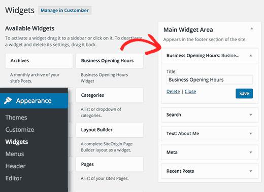 Adding opening hours widget in WordPress
