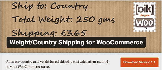 Weight/Country Shipping plugin for WooCommerce