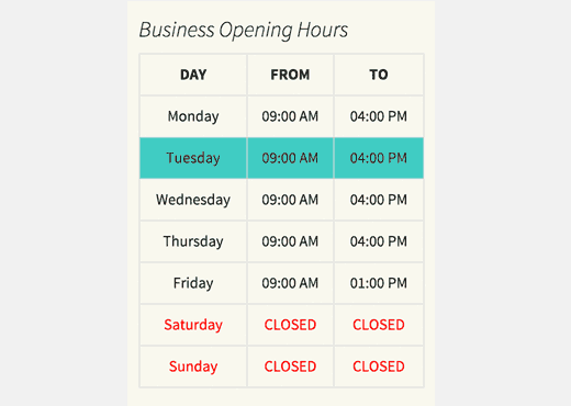 Preview of opening hours table on a WordPress site